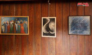 العلم والتربية يستحوذان على لوحات معرض الفنانة ناديا اسعيد في حلب