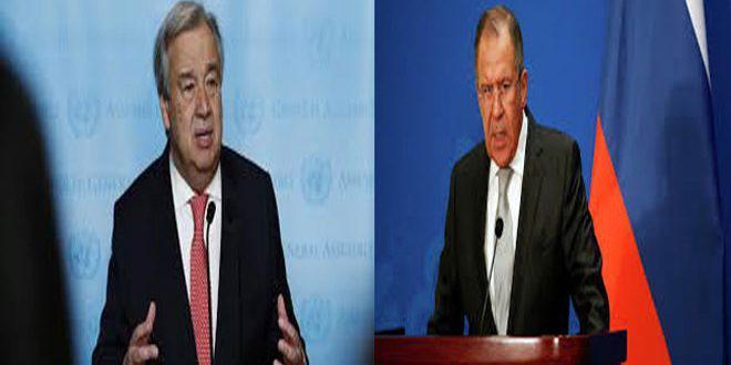 لافروف يبحث هاتفيا مع غوتيريس حل الأزمة في سورية