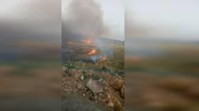 حريق يتسبب بانفجار ألغام عند الحدود اللبنانية الجنوبية
