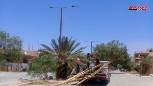 إنجاز القسم الأكبر من مشروع تأهيل إنارة ساحات مدينة تدمر وشوارعها الرئيسة