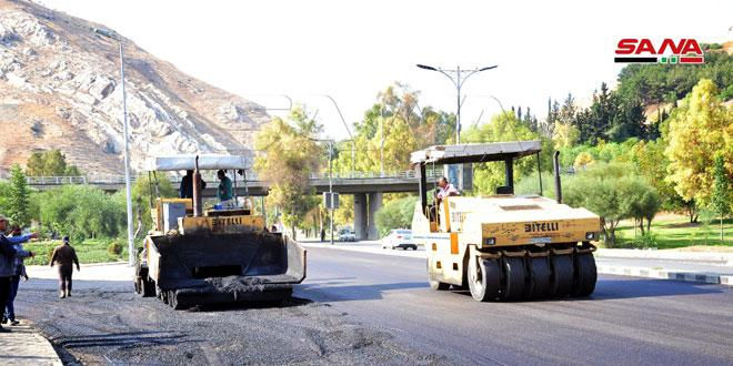محافظة دمشق: بدء تزفيت طريق كيوان باتجاه ساحة الأمويين