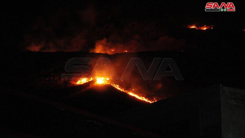إخماد حريق أعشاب يابسة في منطقة الربوة بدمشق