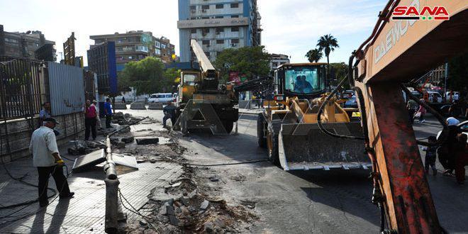 محافظة دمشق تنفذ حلاً مرورياً في البرامكة تخفيفا للازدحام