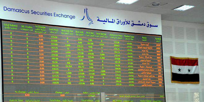 مؤشر سوق دمشق للأوراق المالية يرتفع 44.15 نقطة