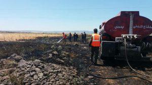 إخماد حريق بمحاصيل قمح و شعير قبل امتداده في كراد داسنية بريف حمص