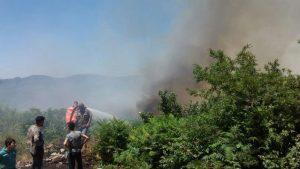 حريق كبير على مساحة 50 دونم أشجار حراجية ومثمرة بريف حمص الغربي (صور)