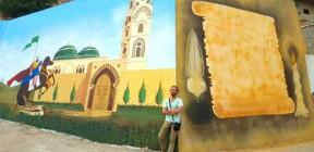 فنان سوري يرسم لوحة عملاقة في لبنان ويحظى بإعجاب واسع