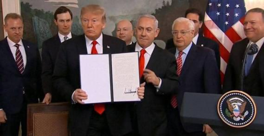 """""""أميركا"""" تسرق حق السوريين في أرضهم وهويتهم وتمنحه للاحتلال الإسرائيلي"""